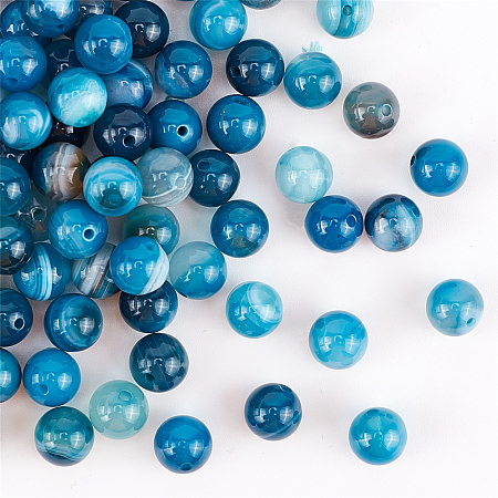 Olycraft Natural Striped Agate/Banded Agate Beads Strands, Dyed, Round, Sky Blue, 8mm, Hole: 1mm; about 100pcs/box