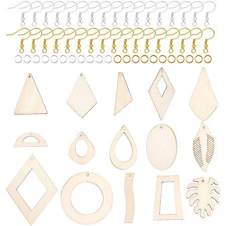 NBEADS 120 Pcs Earring Making Kits, Wood Big Pendants Pendants with Earring Hooks and Jump Rings for Earring Makings