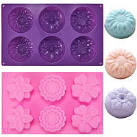 Gorgecraft Food Grade Silicone Molds, Fondant Molds, For DIY Cake Decoration, Chocolate, Candy Mold, Flower, Mixed Color, 275x168x34.5~41.5mm/270x165x30mm, 2pcs/set