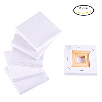 "NBEADS 6 PCS 3.9""x3.9"" Mini Canvas Panel Painting Craft, Tiny Wooden Sketchpad Drawing Board for Painting Craft Drawing Decoration Gift and Kids Learning Education"