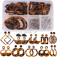 SUNNYCLUE DIY Earring Making, Cellulose Acetate(Resin) Pendants and 304 Stainless Steel Stud Earring Findings, Mixed Shapes, Goldenrod, 11x7x3cm