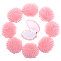 Velvet Necklace Boxes, Shell Shape, Jewelry Box for Girls, Gift Box, Pink, 5.3x5.85x2.9cm