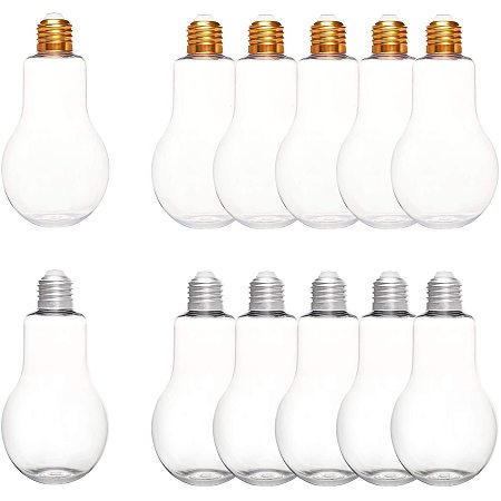 NBEADS 12 Packs Plastics Jars, Bulb Jars with Lids Plastic Light Bulb Shaped Bottle for Party Decor and Ornaments Storage, 300ml