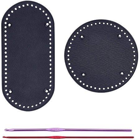 PandaHall Elite 2 pcs Flat Round/Circle PU Leather Long Knitting Crochet Bags Nail Bottom Shaper Pad Bag Cushion Base with 2 pcs 2mm 3mm Aluminum Crochet Hooks for Handbag DIY Shoulder Bags, 4 Pcs/Set