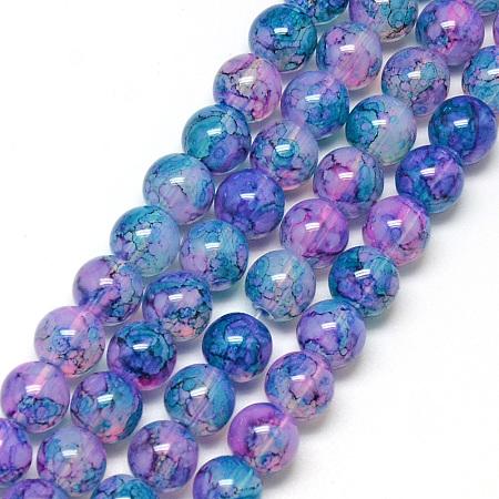 NBEADS Baking Painted Glass Beads Strands, Imitation Opalite, Round, Lilac, 8mm, Hole: 1.3~1.6mm; about 100pcs/strand, 31.4