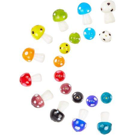 Mushroom Handmade Lampwork Beads, Mixed Color, 16x12mm, Hole: 2mm; 10colors, 7pcs/color, 70pcs/box