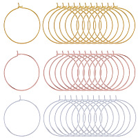 SUNNYCLUE Brass Wine Glass Charm Rings, Hoop Earrings Findings, Mixed Color, 25x0.8mm, 150pcs/set