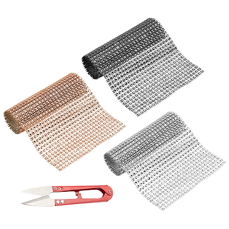 24 Rows Plastic Mesh Rhinestone Trimming, Rhinestone Cup Chains, with Stainless-Steel Scissors, Mixed Color, 120x1mm, 3 colors, 1m/color, 3m/set