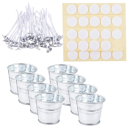 PANDAHALL ELITE Candle Making Tool Sets, with Tinplate Bucket, Candle Wick and Double-faced Self-adhesive Paper Stickers, Mixed Color, 50.5x42mm, 12pcs