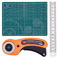 Gorgecraft Tools Set, with Rotary Cutter Blades, PVC Cutting Mat Pad and Stainless Steel Ruler, for DIY Leather Sewing Craft, Mixed Color, 3pcs/set