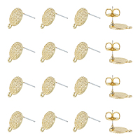 NBEADS Alloy Stud Earring Findings, with Loop and Brass Ear Nuts, Steel Pins, Flat Round, Light Gold, Earring: 14.5x11mm, Hole: 1.4mm; Pin: 0.7mm, 50pcs; Ear Nuts: 8.5x8x4mm, Hole: 2mm, 50pcs, 100pcs/box