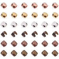 Brass Beads Spacers, Faceted, Column, Mixed Color, 3x3mm, Hole: 1.5mm, 40pcs/color, 240pcs/box