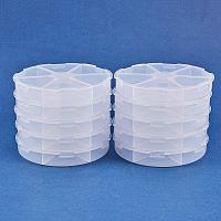BENECREAT 10PCS 6 Compartments Plastic Round Storage Organizer Divider Display Containers Case Box for Jewelry Accessary, Bead, Gem and Other Small Crafts