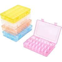 """PH PandaHall 5 Pack 24 Grids Bead Organizer Containers Plastic Jewelry Box Adjustable Dividers Earring Storage Diamond Painting Storage Case for Cross Stitch Accessories, Nails, Sewing (7.5x5x1.4"""")"""