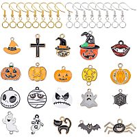 NBEADS 200 Pcs Halloween Theme Dangle Earring Making Kits, with Alloy Enamel Pendants, Brass Earring Hooks and Iron Jump Rings for Jewelry Earring Making