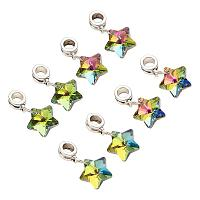PandaHall Elite 50 pcs Alloy 50mm Electroplated European Dangle Beads with Colorful Glass Dangle Star Beads, Large Hole Bead Charms for Bracelet Jewelry DIY Craft Making