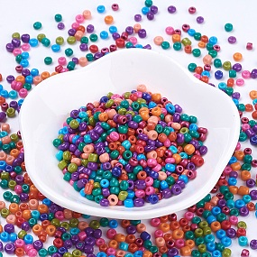 ARRICRAFT 8/0 Baking Paint Glass Seed Beads, Mixed Color, 3x2mm, Hole: 1~1.2mm, about 500pcs/50g