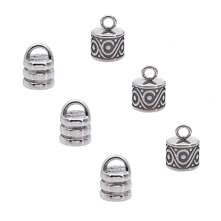Unicraftale 304 Stainless Steel Cord Ends, End Caps, Antique Silver, 13.5x10mm, Hole: 3mm & 13x10mm, Hole: 3mm; 6pcs/box