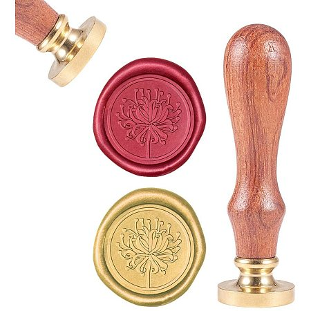 CRASPIRE Wax Seal Stamp, Sealing Wax Stamps Higan Bana Retro Wood Stamp Wax Seal 25mm Removable Brass Seal Wood Handle for Envelopes Invitations Wedding Embellishment Bottle Decoration Gift Packing