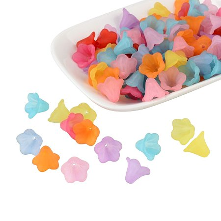 ARRICRAFT 100 Pcs Mixed Color Frosted Acrylic Beads, Flower, about 15mm wide, 10mm long, hole: 1.5mm