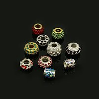 NBEADS 50 Pcs Random Mixed Color and Shapes Glass Rhinestone European Beads Crystal Charms Large Hole Beads Loose Spacer Beads for Bracelet Necklace Jewelry Making