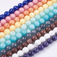 ARRICRAFT Natural Jade Bead Strands, Dyed, Faceted, Round, Mixed Color, 10mm; Hole: 1mm; 38pcs/strand, 14.5 inches