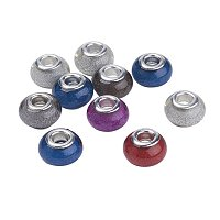 NBEADS 100PCS Random Mixed Color Acrylic Silver Tone European Beads, Brass Double Cores Large Hole Rondelle Charms Beads fit Snake Chain Bracelet Jewelry Making