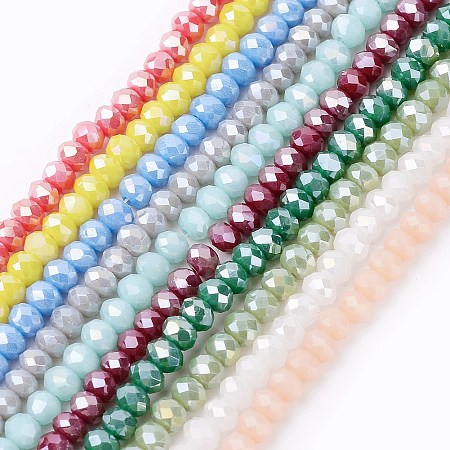 ARRICRAFT Electroplate Glass Beads Strands, Imitation Jade, AB Color Plated, Faceted, Rondelle, Mixed Color, 3.5~4x2.5~3mm; Hole: 0.5mm; about 140pcs/strand, 15.5 inches