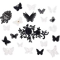 Lace Embroidery Sewing Fiber Appliques, DIY Garment Accessories, Flower, Mixed Color, 20~20.6x12.2~12.6cm