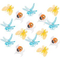AHANDMAKER Transparent & Spray Painted Plastic Claw Hair Clips, Dragonfly & Ladybug & Butterfly, for Girls and Women, Mixed Color, 34x36.5x18.5mm, 90pcs/set