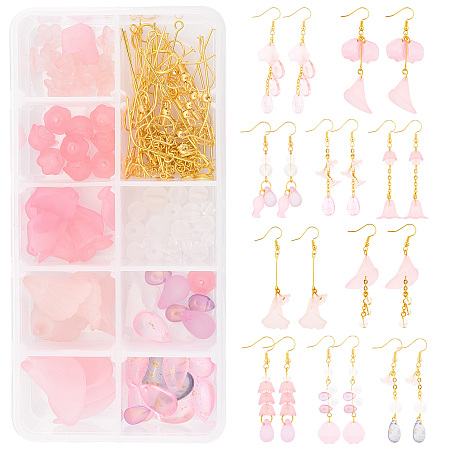 SUNNYCLUE DIY Pink Style Earring Making Kits, include Acrylic Pendants & Beads & Bead Caps & Charms, Glass Charms & Beads, Brass Cable Chains and Iron Findings, Golden