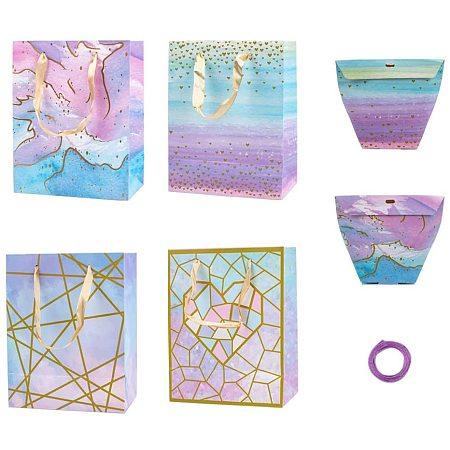 Paper Shopping Bags, Cardboard Paper Box and Satin Ribbon, Mixed Color, 6pcs/set