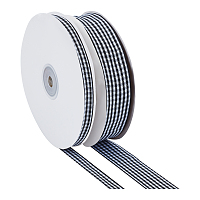 Polyester Ribbon, Tartan Pattern, Black, 3/8 inch(10mm), 1 inches(25mm); about 50yards/roll(45.72m/roll), 2rolls/set