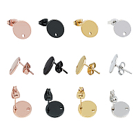 Unicraftale 304 Stainless Steel Stud Earring Findings, with Loop, Bead Container, Flat Round, Mixed Color, 10x1mm, Hole: 1.5mm; Pin: 0.8mm; 40pcs/box