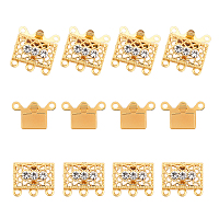 Arricraft Brass Filigree Box Clasps, with Rhinestone, Rectangle, Platinum & Golden, 17x18x7mm, Hole: 1.5mm, 2 colors, 10sets/color, 20sets/box