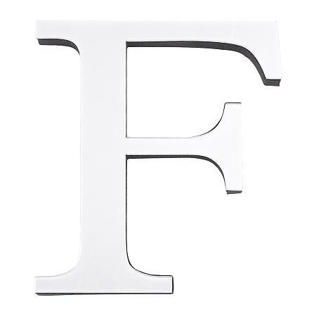 CREATCABIN Acrylic Mirror Wall Stickers Decal, with EVA Foam, Alphabet, Letter.F, 100x90x1mm, Foam: 100x90x10.5mm