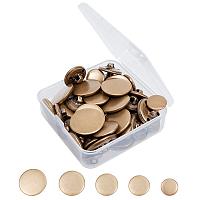 Olycraft Brass Shank Buttons, Flat Round, Antique Bronze, 25x8mm; 23x8mm; 20x7mm; 18x6.5mm; 15x6.5mm; 50pcs/box