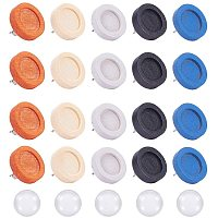 Arricraft 24 pcs 6 Colors 12mm Flat Round Wooden Earring Stud with 24 pcs 12mm Clear Glass Cabochons Earrings Post for Earring Jewelry DIY Craft Making