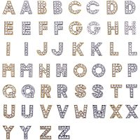 NBEADS Alloy Slide Charms, with Rhinestone, Alphabet, Platinum & Golden, 74x72x17mm; 52pcs/box