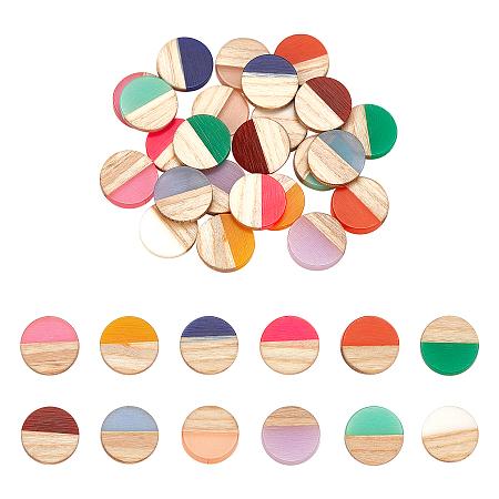 Resin & Wood Cabochons, Flat Round, Two Tone, Mixed Color, 15x3.5mm; 12 colors, 2pcs/color, 24pcs/box