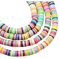 NBEADS 380 Pieces Handmade Polymer Clay Beads Strand, 3mm Flat Round Spacer Beads for DIY Jewelry Making, Mixed Color, Hole: 1mm
