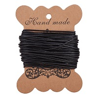 PandaHall Elite 1 Roll 1.5 mm Black Cowhide Round Leather Cords For Bracelet Necklace Beading Jewelry Making 11 Yard