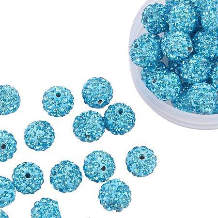 ARRICRAFT 100 Pcs 10mm Aquamarine Shamballa Pave Disco Ball Clay Beads, Polymer Clay Rhinestone Beads Round Charms Jewelry Makings