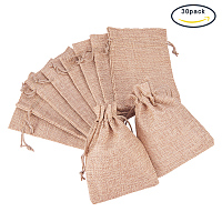 BENECREAT 30Pack Linen Burlap Bags with Drawstring Gift Bags Jewelry Pouch for Wedding Party and DIY Craft, 4.5 x 3.7 Inch