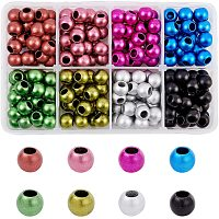 NBEADS About 216 Pcs 12mm Matte Spray Painted Acrylic European Beads, Mixed Color Large Hole Charm Bead Spacer Beads for DIY Snake Chain Bracelet Jewelry Making with 6mm Hole
