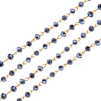 """PandaHall Elite Handmade Abacus Glass Beads Chains for Necklaces Bracelets Making, with Golden Iron Eyepins, Black, 39.3"""""""