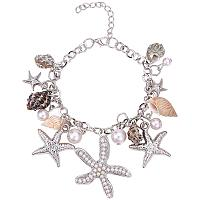 "PH PandaHall Starfish Shell Bracelets Conch Starfish Faux Pearl Anklet Bracelet Charm Women Bohemian Adjustable Seashell Bracelet(7"" with 2"" Extend Chain)"