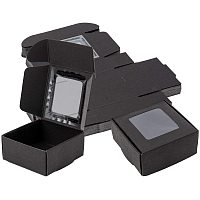 BENECREAT 30 Packs 2.5x2.5x1.2 Inches Square Black Kraft Paper Boxes with Clear Windows for Party Favor Treats, Bakery, and Jewelry Packaging