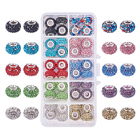 PandaHall Elite 1 Box 40 Pieces 10 Color 15x10mm Resin Pave Grade A Rhinestone European Beads with Silver Color Brass Double Cores Large Hole Rondelle Beads