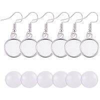 PH PandaHall 40pcs Alloy Earring Wire Hooks Bezel Dangle Tray Earring Settings with 40pcs 12mm Clear Glass Cabochons Settings for DIY Earring Making (40 Sets Totally)
